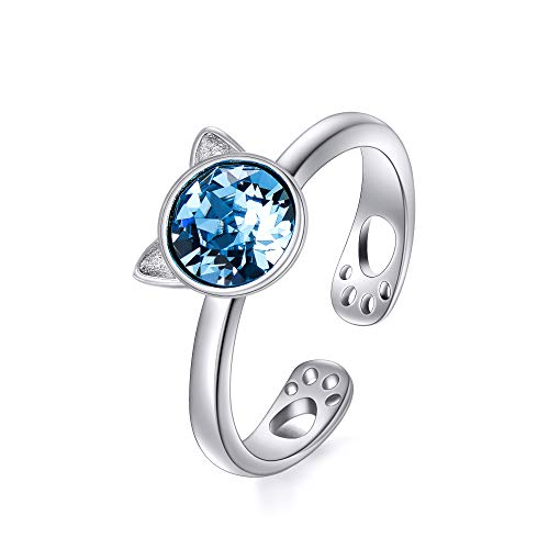 AOBOCO 925 Sterling Silver Cute Kitty Cat Open Wrap Ring Adjustable Stacking Animal Bands Ring with Hollow Out Cat Paws and Created Blue Aquamarine Swarovski Crystal