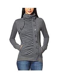Women's Elegant High Neck Button Ruched Jackets