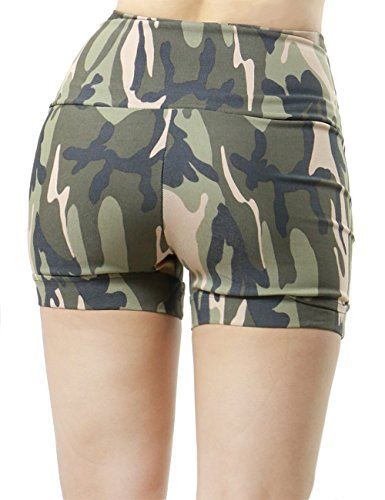 Frontal Zip-up Closure Camo Military Design Fashion Short Pants for Women (SMALL, CAMO-P7230)