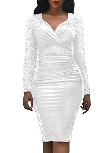 - Domy Women's Formal Bodycon Dress Floral Lace Panel Ruched Sheath Dress (L White)