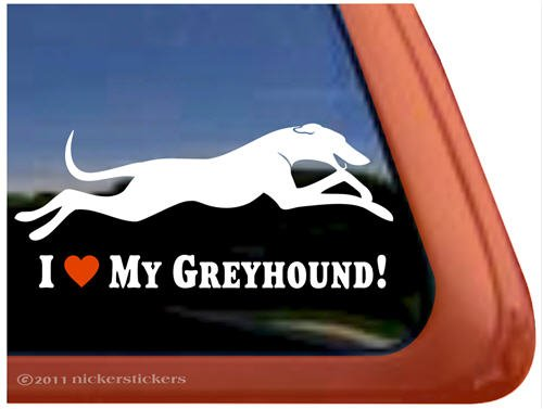 (I Love My Greyhound Dog Vinyl Window Decal Sticker)