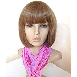 Natural Wig Heat Friendly Synthetic Hair Light Brown Dark Blonde Sexy Bob Style for Regular Wear or Cosplay (BONUS: 2 Wig Caps Provided)