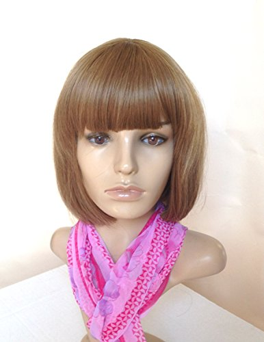 Natural Wig Heat Friendly Synthetic Hair Light Brown Dark Blonde Sexy Bob Style for Regular Wear or Cosplay (BONUS: 2 Wig Caps ()