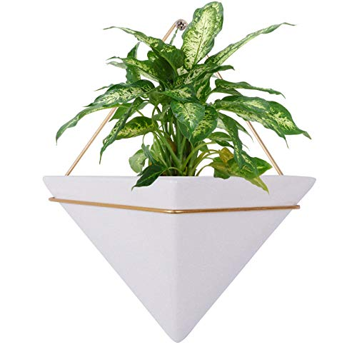 Hanging Planter for Indoor Plants, Geometric Wall Decor Container - Great for Succulent Plants, Air Plant, Faux Plants,White Ceramic/Brass 2 Set