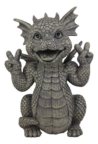 Ebros Whimsical Garden Dragon with Hippie Peace Sign Gesture Statue 10.5