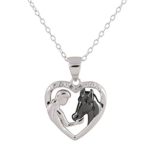 Sterling Silver Two-Tone White Topaz Girl Feeding Her Horse Open Heart Pendant Necklace, 18""