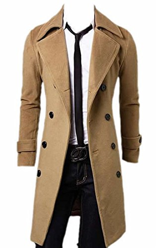 Mens Camel Hair (Unko Mens Casual Double Breasted Long Wool Blend Trench Coat the coulour of camel¡äs hair L)