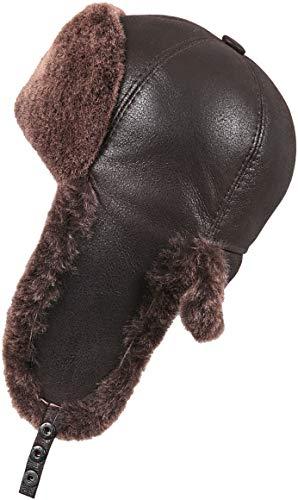 Zavelio Men's Shearling Sheepskin 6 Panel Ushanka Hat X-Large Brown