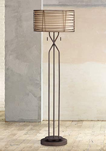 Marlowe Modern Floor Lamp Industrial Bronze Woven Iron and Burlap Double Drum Shade for Living Room Reading Bedroom – Franklin Iron Works