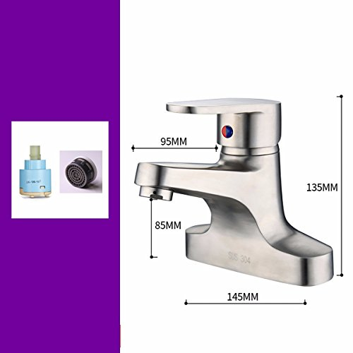 WAWZJ-Basin Sink Mixer Tap Stainless Steel Tap Water Faucet Single Double Cold And Hot Faucet,D by WAWZJ-Basin Sink Mixer Tap