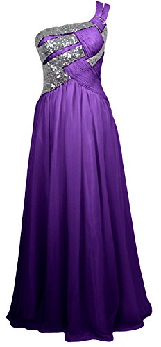 MACloth Women One Shoulder Long Briesmaid Dress Wedding Evening Party Gown Morado