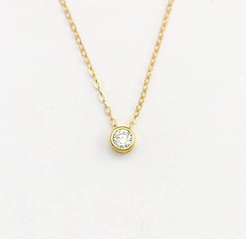Delicate Diamond Pendant with 14k Gold fill Rose Gold Chain Silver Simple Layering Necklace Tiny CZ Necklace Gold CZ Solitaire Necklace