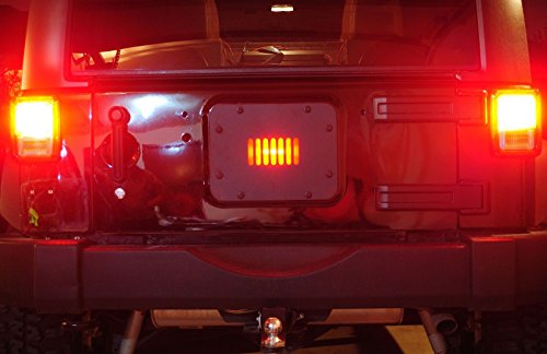 jeep jk tailgate vent plate cover with led light   spare