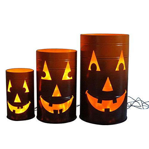 Member's Mark Lighted Jack-O'-Lantern Oil Barrels, Set of Three