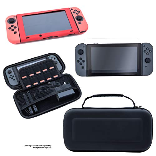 Nintendo Switch Gaming Accessories Bundle Kit - Includes Nintendo Switch Hard EVA Carrying Case, Silicon Covers for Console & Joy-Con, and Tempered Glass Nintendo Switch Screen Protector (Black Case)