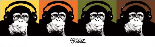 (Steez Headphone Monkey Quad (Monkeys Wearing Headphones) Urban Graffiti Art Print (Unframed 12x36 Poster))
