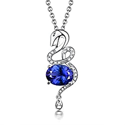 Tanzanite Diamond Necklace Pendant in White Gold