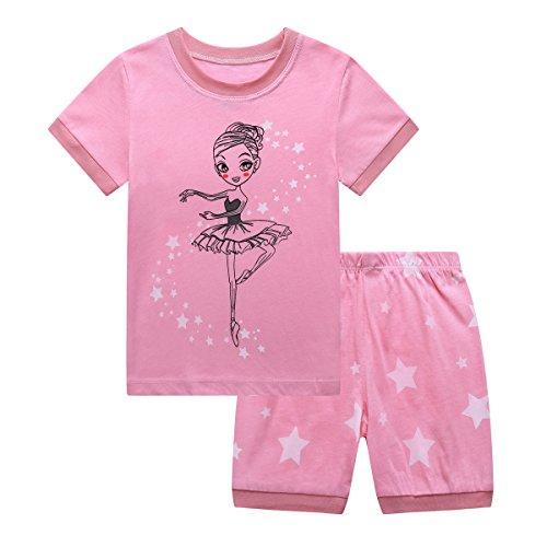 (RKOIAN Little Girls' Short Pajamas Sets Toddler PJS Cotton Kids Sleepwears (Pink Ballerina, 6 Tall))