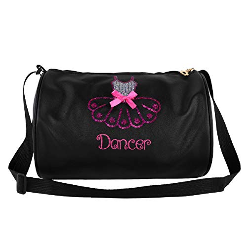 iiniim Ballet Bag Girls Handbag Ballet Dance Shoe Bag Ballerina Bag Kids Embroidery Shoulder Bag Black One -