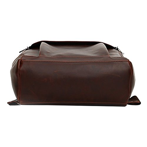 Wewod Hombres PU Cuero Backpack, Mochilas Escolares, Bolsa Viaje Casual Moda Sencillo , Mochilas para Ordenadores Portatiles 14 pulgadas con independiente compartimiento (Marrón) Marrón
