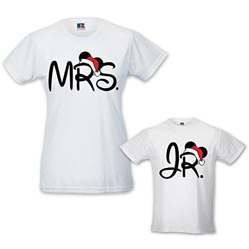 Coppia di T-shirt Donna Bambino Idea Regalo di Natale Mr / Jr Bianche Donna M - Bimbo 1-2 Anni