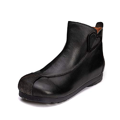 Nero Nero Nero EU Marrone Dimensione Leather Emboridery Zipper 36 ZHRUI Vintage Vintage Vintage Vintage Boots Flat Women Shoes Colore qTwCnpA