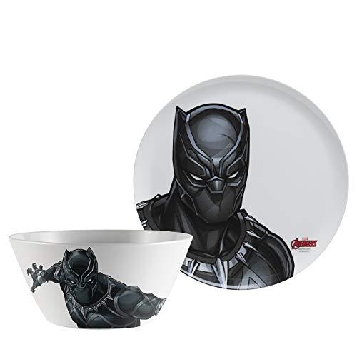 Zak Designs Avengers 10in Durable Melamine Plate + Bowl Set, Avengers Black Panther 2pc