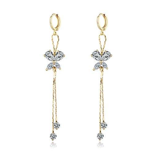 MASOP Gold Tone White Crystal Drop Dangling Earrings Women Girls Wedding - Crystal Dangling