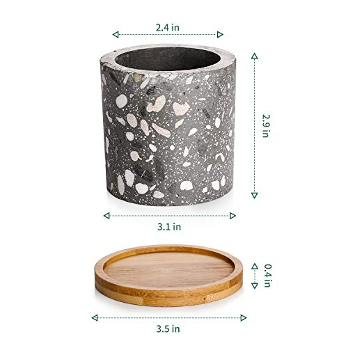 Potey Succulent Plant Pots Terrazzo Planter – 2.4 Cement Container Unglazed Concrete Cactus Cylinder Pot – Drain Hole with Bamboo Tray – Set of 3, Deep Grey, Light Grey, White