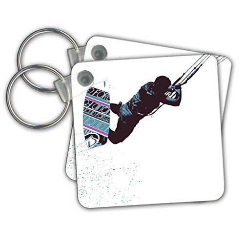 Taiche - Vector - Kitesurfing Wakeboarding - Kite And Surfboard Freestyle Silhouette Vector - Key Chains - set of 6 Key Chains (kc_264510_3)