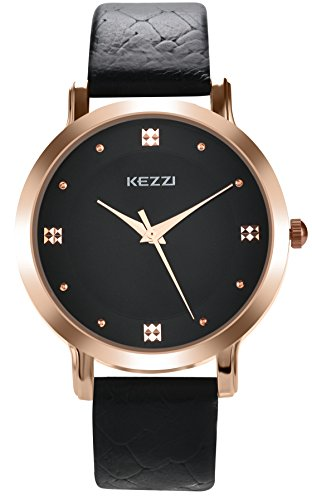 Mens Leather Watch Classic Bussiness Casual Quartz Analog Wrist Watches Simple Gold Tone Male Dress Wristwatch Black Strap Black Dial Timepiece 99 Ft Waterproof
