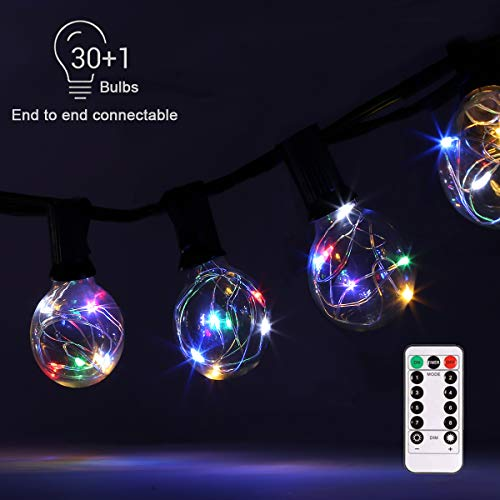 G40 Dimmable Globe String Lights Remote, 30LED Bulbs 32.8ft Indoor/Outdoor String Lights Linkable Waterproof Patio String Lights for Party Wedding Backyard Bedroom Decor (Multi Color, Remote Control) (Colored Globe Light Bulb)
