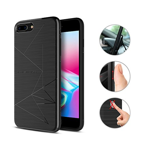 Nillkin Case (iPhone 8 Plus Case, Nillkin [Magic Series] Qi Wireless Charging Phone Case Matte Slim Charger Cover Built-in Four Magnets Compatible with Magnetic Holder for Apple iPhone 8 Plus - Black)