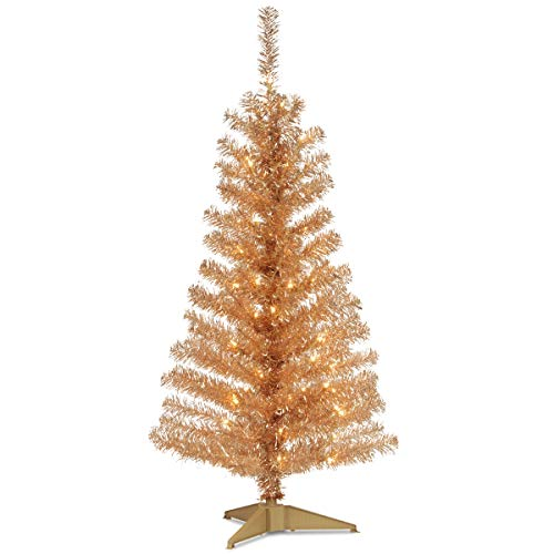 National Tree 4 Foot Champagne Tinsel Tree with Plastic Stand and 70 Clear Lights (TT33-302-40) (Artificial Gold Trees Christmas)