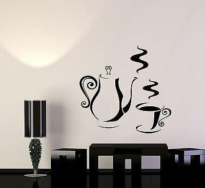 Vinyl Decal Decorating Kitchen Coffee Shop Tea Maker Wall Stickers Art 008ig (Wallpaper Monogram Maker)