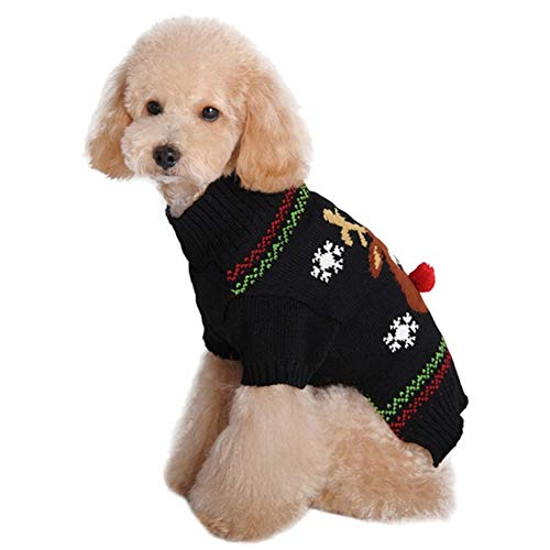 SUNFURA Christmas Winter Dog Sweater, Cute Warm Pet Pullover with Black Nose Elk Snowflake Patterns, Comfy Dog Cat Cold Weather Knitted Coat for Cats Small Medium Large Dog(Black,XXS)