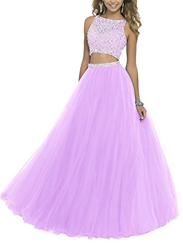 (Uryouthstyle Long Two Pieces Beaded Prom Gowns Bodice Evening Dress LIC US)