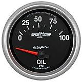 """Auto Meter 7627 Sport-Comp II 2-5/8"""" 0-100 PSI Short Sweep Electric Oil Pressure Gauge"""