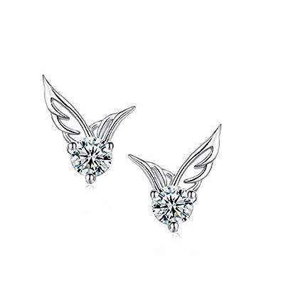 NANHONG Fashion Women 925 Sterling Silver Jewelry Angel Wings Crystal Ear Stud Earrings v5UWERRJV