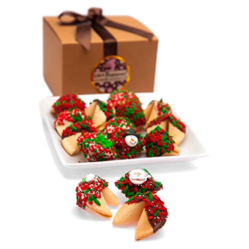 Christmas Fortune Cookies in Gift Box Chocolate Dipped Fortune Cookies
