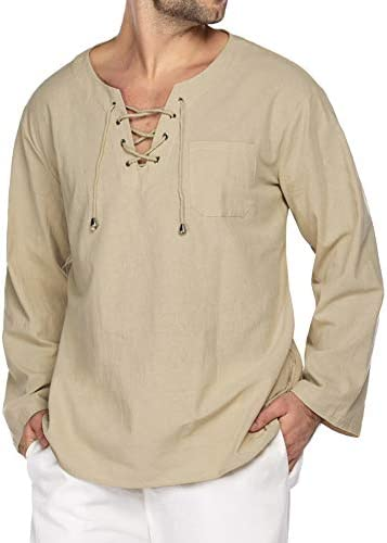 COOFANDY Mens Fashion T Shirt Cotton Linen Tee Hippie Shirts V-Neck Yoga Top