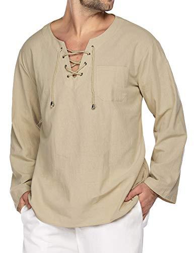 COOFANDY Mens Summer Lightweight Sun Shirt Casual Cotton Linen Beach Holiday Tee