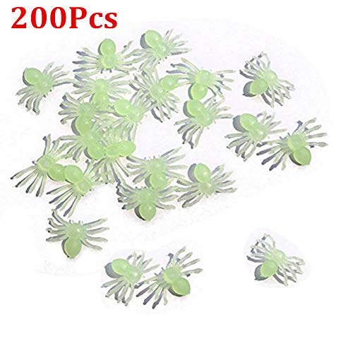 Hot Sale!DEESEE(TM)20/50/100/200PCS Luminous Spider Halloween Party Decoration Haunted House Prop Indoor Outdoor Wide (D 200PCS)