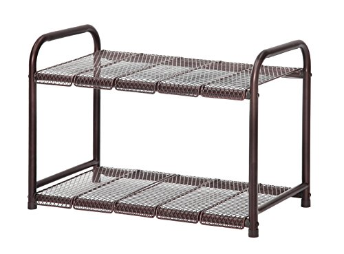 STORAGE MANIAC Under Sink 2 Tier Adjustable(Width&Height) Shelf Organizer with 10 Removable Steel Panels, Bronze