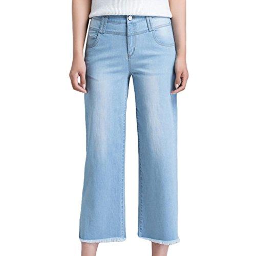 Houppe Femmes Bleu Respirant de Droit Xinwcanga Jeans Casual Jeans Haute Taille Lumire 8dWq4wcp4