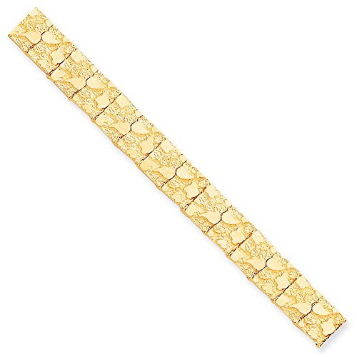 Solid 10k Yellow Gold Big Heavy 12.0mm Nugget Bracelet 8