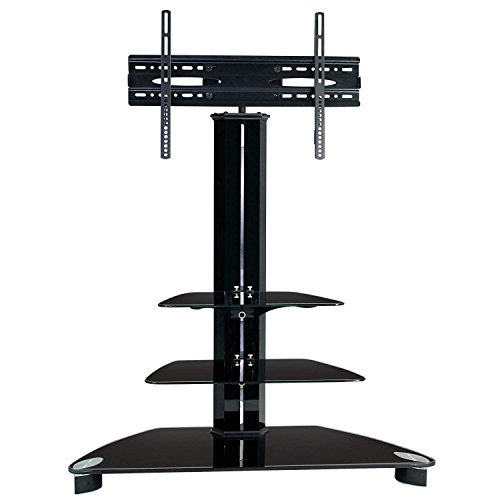 MMT Furniture Designs Rio Black TV Stand - Glass Cantilever TV Stand Unit With Mount Bracket - 32 Inch Up To 55 Inch LCD LED Screens Swivel Action Bracket