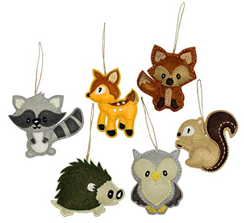 Darware My Forest Friends Christmas Ornament Set (6-Piece Set); Plush Holiday Animal Tree Decoration Set with Baby Woodland Creatures: Fox, Raccoon, Squirrel, Porcupine, Deer & Owl (Ornaments Felt)