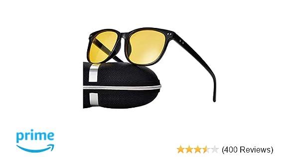 e87d693986 Amazon.com  Night Vision Driving Glasses Polarized Anti-glare Clear Sun  Glasses Men   Women Fashion (Black-1