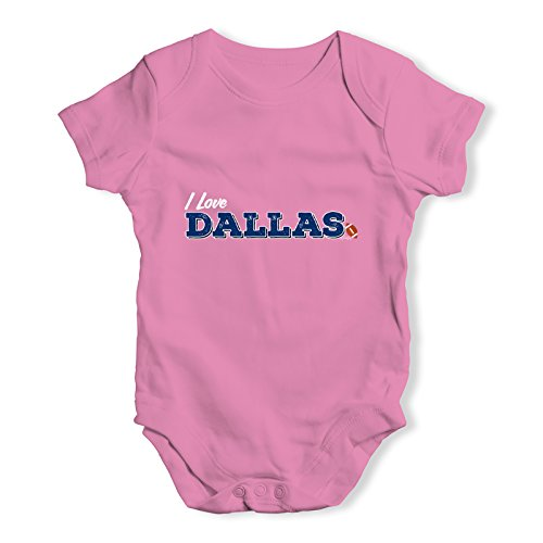 TWISTED ENVY Funny Infant Baby Bodysuit I Love Dallas American Football Baby Unisex Baby Grow Bodysuit 12-18 Months Pink